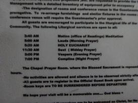 Schedule of Prayers