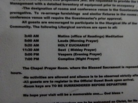 Schedule of Prayers
